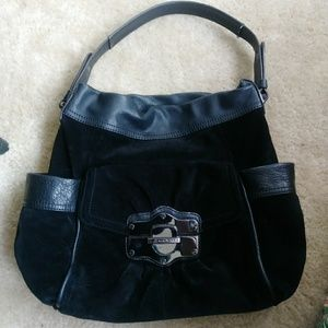 B. Makowski black suede leather shoulder bag purse